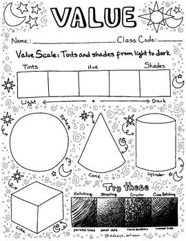 Value Worksheet And Coloring Page Art Lessons Art Classroom Elementary Art