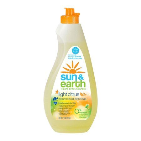 Sun And Earth Natural Concentrated Liquid Dish Soap Light Citrus
