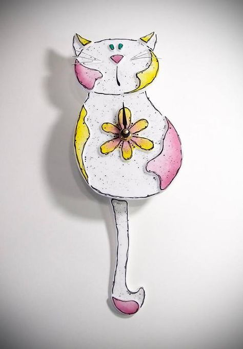 Cat Pendulum Clock Fused Glass Wall Hanging Glass Home Decor