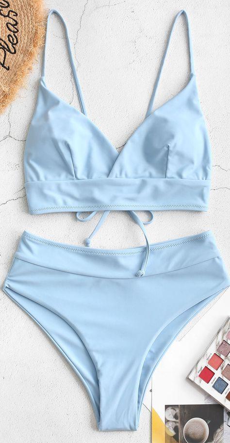 ZAFUL Tie Surplice Bikini Swimsuit - - Style: Basic Swimwear Type: Bikini Gender: For Women Material: NylonSpandex Bra Style: Padded Support Type: Wire Free Collar-line: Spaghetti Straps Pattern Type: Solid Decoration: Tie Source by zafulbikini 2 Piece Swimsuits, Cute Swimsuits, Cute Bikinis, Women Swimsuits, Bathing Suits For Teens, Summer Bathing Suits, Cute Bathing Suits, Target Bathing Suits, Bathing Suit Covers