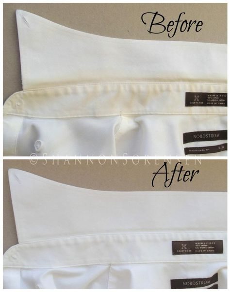 Before and after: using hydrogen peroxide to remove yellow shirt stains from mens shirts © ShannonSorensen