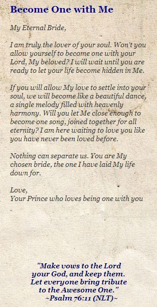 To My Princess Bride  Letters From The Father