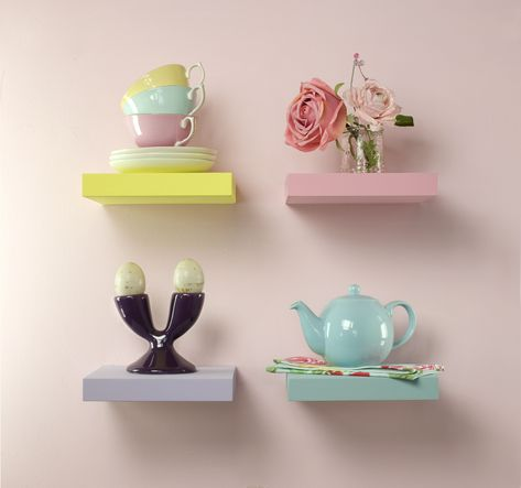Floating Shelves Idea In Sweet Colors