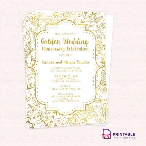 50th Anniversary Invitation template No.9B Golden Wedding Anniversary Invitation Template printable template for 50th wedding anniversary