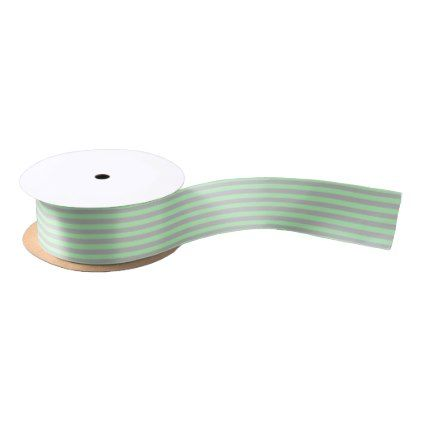 Soft Green and Silver Stripes Satin Ribbon | Zazzle com