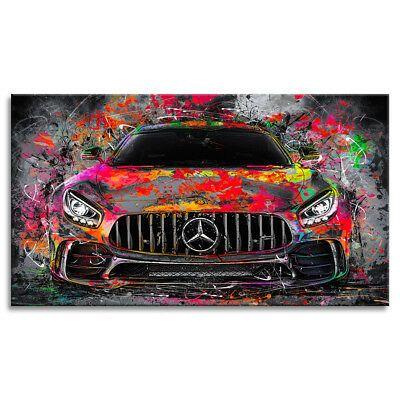 Leinwand-Bild Mercedes AMG GT Abstrakt Wandbild Dekoration Kunstdruck Bilder