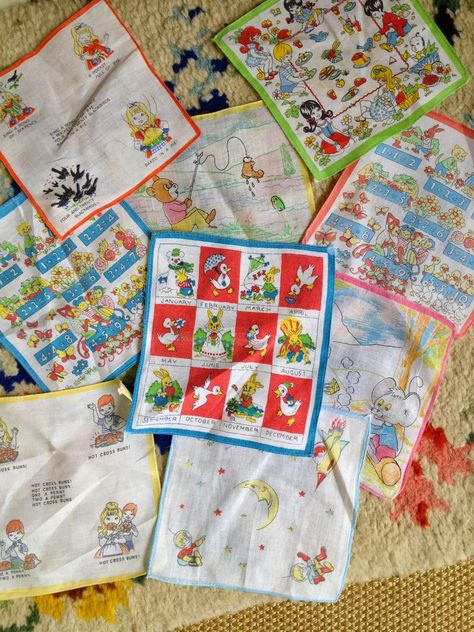 Children's Hankies, there were loads to choose from on the counters, bet most of us from this era got them for Christmas, birthdays!!