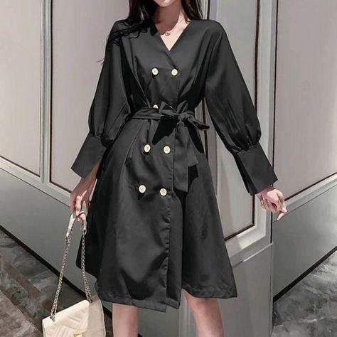 V-neck double-breasted blazer dress