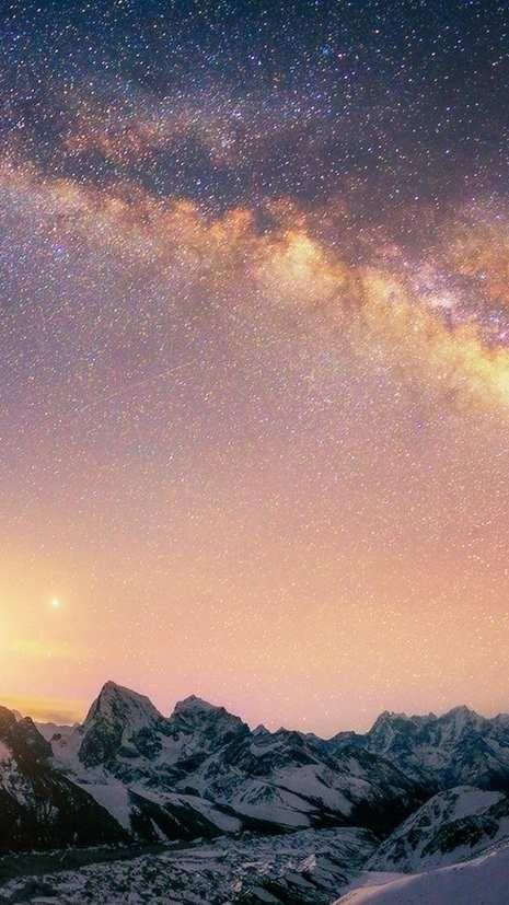 Milky Way Galaxy Mountains Wallpaper Mountain Wallpaper Night