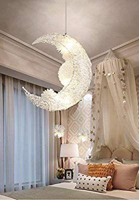 Creative Moon And Stars Fairy Led Pendant Lamp Chandelier Ceiling Light Kids Children Bedroo Girls Room Chandelier Bedroom Ceiling Light Girls Bedroom Lighting