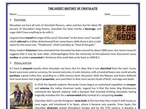 The Sweet History of Chocolate - Reading Comprehension (text)