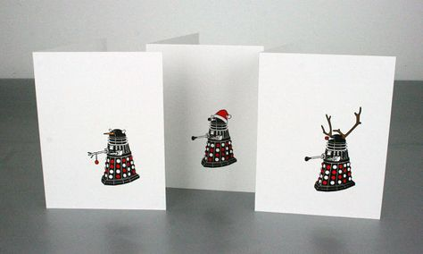 This listing is for a set of six Doctor Who Dalek Christmas letterpress cards and includes two of each of the following:  Dalek Snowman - with