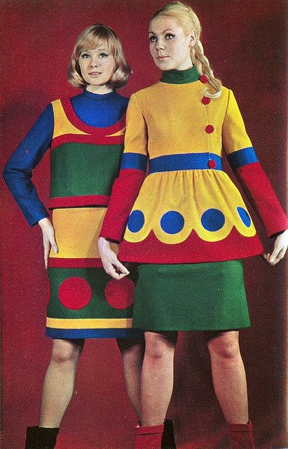 Soviet Fashion - Sputnik Magazine November 1967 - I REALY think the makers of Santa Clause The Movie based their color scheme for all of the toys on these dresses!