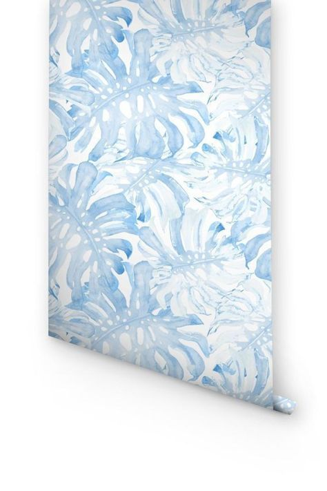 Removable wallpaper with baby blue monstera leaves pattern, Palm Leaves Wall Mural, Exotic Pattern, Nursery Wallpaper, Tropical Wall Decal
