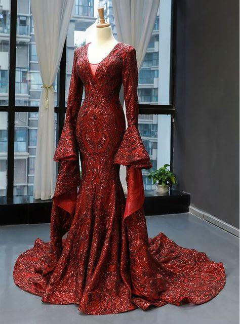 Burgundy Mermaid Sequins V-neck Flare Sleeve Backless Prom Dress M2014