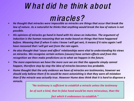arguments against miracles