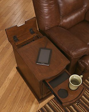Laflorn Chairside End Table With Usb Ports Outlets Signature