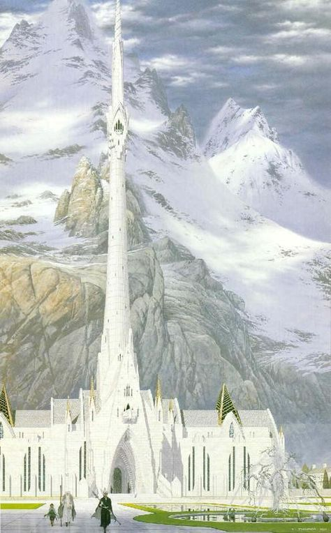 Minas Tirith - Ted Nasmith, who is an exceptional artist, up there with Alan Lee and John Howe. 3d Fantasy, Fantasy Landscape, Fantasy World, Fantasy Places, Minas Tirith, Alan Lee, Lotr, John Howe, Das Silmarillion