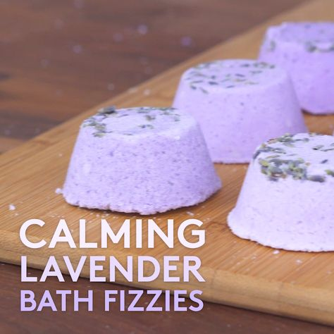 DIY Bath Bombs Three Ways | Calming lavender, gemstone and mermaid capsule bath bombs have never been easier to make at home.  Plus with so many ways to customize these bath bombs, mixing up a batch is the perfect activity for a party or a play date.  #diy #crafts #bathbombs #beauty #realsimple