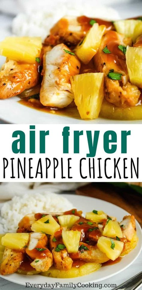 Easy air fryer chicken with no breading with pineapple sauce It s a simple chicken recipe with Hawaiian tropical flavors This recipe is made with skinless boneless unbreaded chicken breast to get an incredibly grilled flavor airfryer airfried foodie Pineapple Chicken Recipes, Easy Chicken Dinner Recipes, Pineapple Sauce, Easy Meals, Tropical Chicken Recipe, Pineapple Recipes Healthy, Healthy Grilled Chicken Recipes, Pineapple Diet, Healthy Dinner Recipes