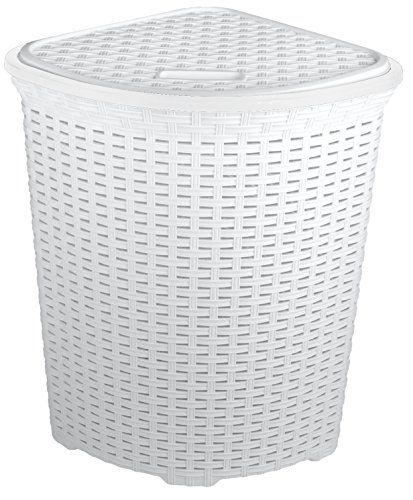 From 19 99 Funkybuys Large Corner White Faux Rattan Laundry Washing Basket 52 Litres Laundry Hamper Wicker Laundry Hamper Slim Laundry Basket