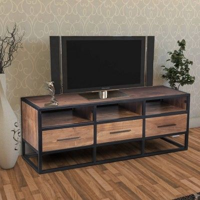 Wooden Tv Unit With Metal Frame Brown Black The Urban Port
