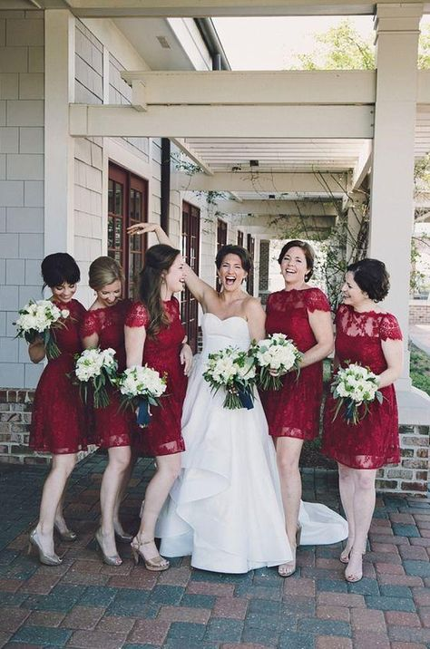 2021 New Arrival A Line Burgundy Lace Knee Length Cheap Bridesmaid Dresses / Gowns - Burgundy / US10