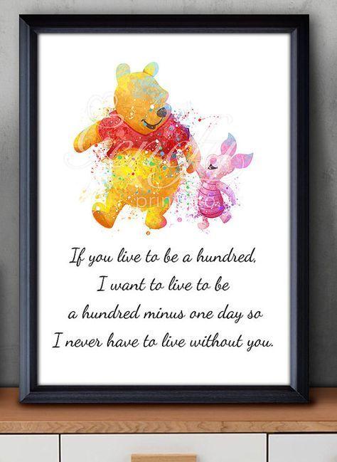 Disney Winnie The Pooh Liebe Zitat 1 Aquarell Poster Print