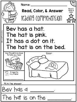 Reading Comprehension Passages Read Color Answer Set 1 3 Page Freebie Phonics Reading Reading Comprehension Passages Reading Comprehension Kindergarten Read and color comprehension worksheets