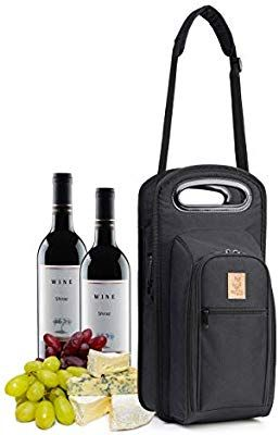 Amazon Com Nerta Products Wine Travel Bag With Picnic Set Insulated Wine Cooler Bag Tote Case With Handl Wine Travel Bag Gifts For Wine Lovers Picnic Set
