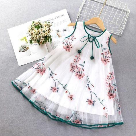 Korean Baby Girls Summer Dress Bowknot Sleeveless Casual Dresses Sundress Princess Print Toddlers Kids Lovely Dress For2-10years - white / 9T