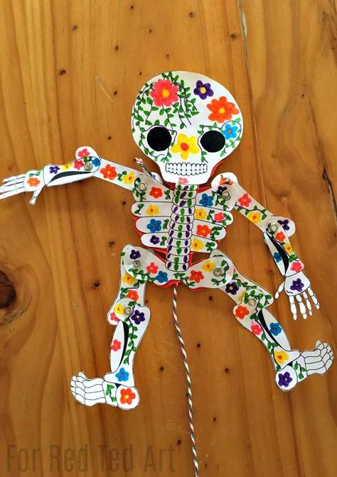 Day Of The Dead Paper Puppet Template Red Ted Art Make Crafting With Kids Easy Fun Sugar Skull Crafts Skull Crafts Paper Puppets