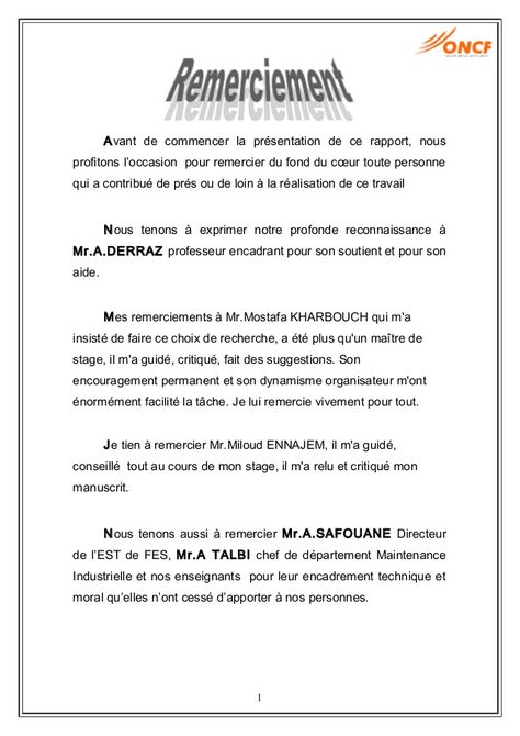 Exemple Lettre De Remerciement Rapport De Stage 3eme 9