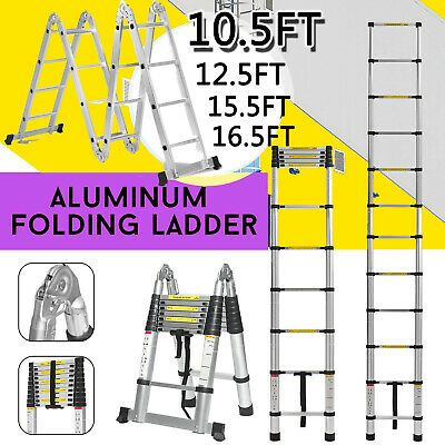 Details About Dayplus Aluminum Telescopic Extension Folding Step Multi Use Non Slip Ladder Us Telescopic Ladder Step Ladders Ladder