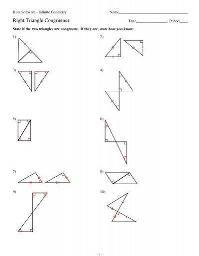 Congruent Triangles Worksheet Answer Key 4 Right Triangle Congruence Pdf Kuta Software In 2020 Congruent Triangles Worksheet Triangle Worksheet Word Problem Worksheets