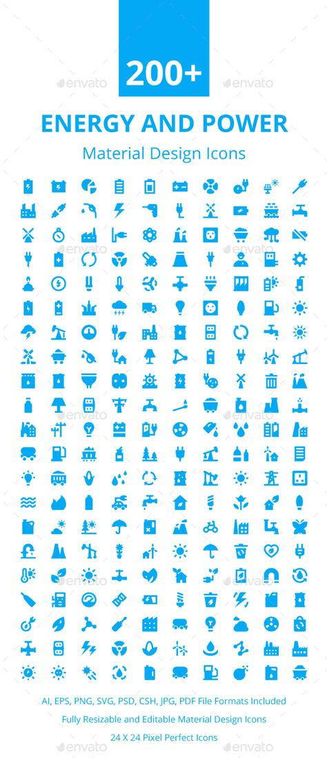 200 Energy And Power Material Icons Download Here Icon Design