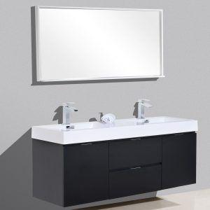 Bliss 60 Double Sink Black Wall Mount Modern Bathroom Vanity