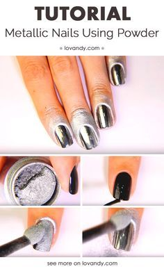How To Make Metallic Nails Using Powder