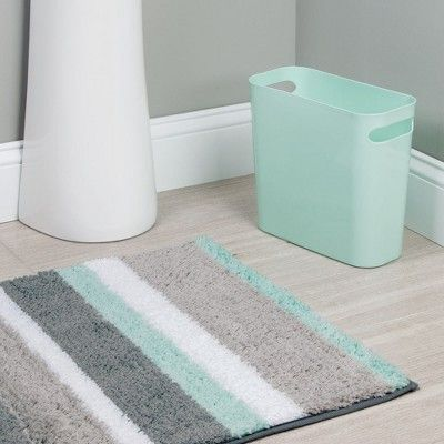 Stripe Bath Rug 34 X21 Mint Gray Idesign Gray Blue In 2019