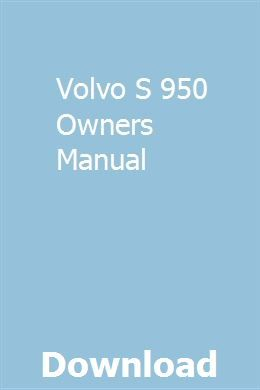 Volvo S 950 Owners Manual Gmc Gmc Trucks Owners Manuals