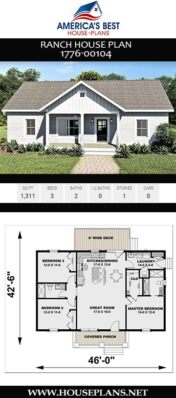 House Plan 1776 00104 Ranch Plan 1 311 Square Feet 3 Bedrooms 2 Bathrooms Floor Plans Ranch Affordable House Plans Ranch Style House Plans