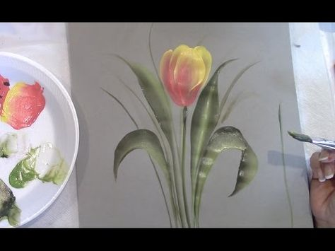 ▶ One Stroke Fast and Simple Tulip - YouTube