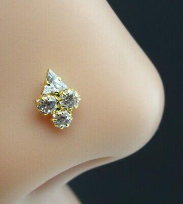 Real Gold Nose stud 14K Ethnic White CZ Indian piercing nose ring Push Pin