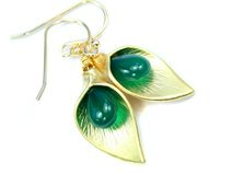 CALLA - Ohrringe, grüner Onyx, vergoldet