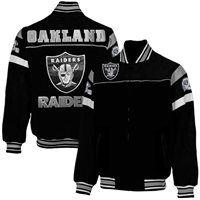 Oakland Raiders Knockout Full Zip Suede Jacket - Black