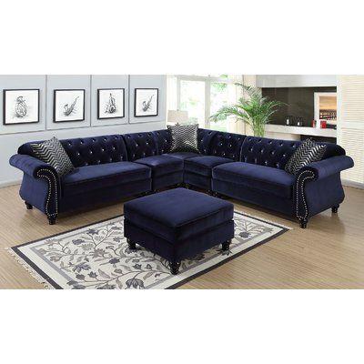 Everly Quinn Annabella 99 Symmetrical Sectional Wayfair Sectional Sofa Blue Sectional Fabric Sectional Sofas