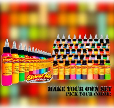 Eternal Tattoo Inks Authentic 10 Bottles Make Your Set 1 2 Oz Pick Colors Usa Eternal Tattoo Ink Ink Tattoo Pi Tattoo