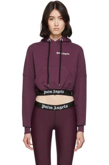 Palm Angels Purple Cropped New Basic Hoodie