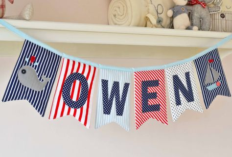 Personalised padded name bunting for boys  by DownGrapevineLane, $10.00