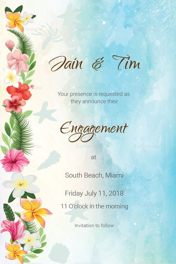 Beach Engagement Announcement Card Template Engagement Announcement Cards Engagement Invitation Cards Wedding Invitation Posters